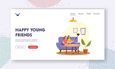 Happy Young Friends Landing Page Template. Girls Relaxing, Make Selfie on Smartphone Sitting on Sofa and Drink Wine