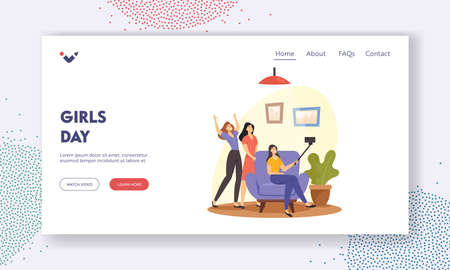 Girls Day Landing Page Template. Friendship Concept. Happy Friends Make Selfie on Smartphone. Girlfriends Photographing Иллюстрация