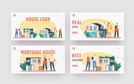 People Buying Property and Real Estate Landing Page Template Set. Mortgage and Home Purchase. Agent Show Cottage