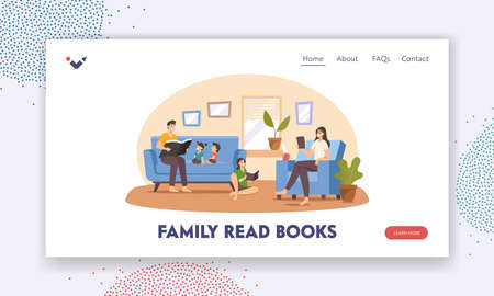 Happy Family Reading at Home Landing Page Template. Father, Mother and Children Characters Sitting on Couch with Books Иллюстрация