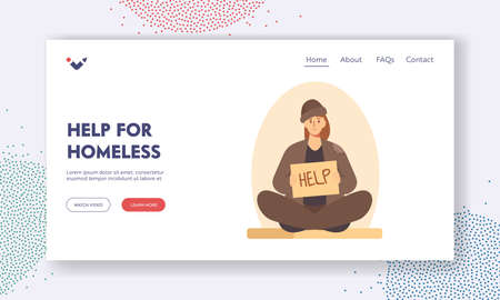 Help for Homeless Landing Page Template. Bum in Ragged Clothes Sitting on Ground Begging Money Holding Banner Need Help