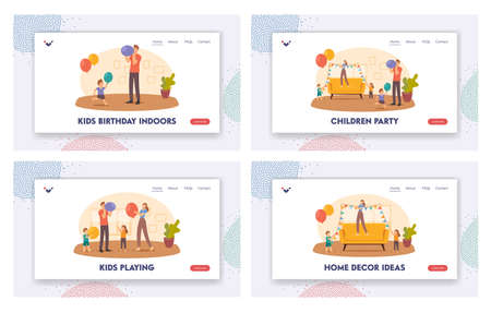 Children Party Decor Landing Page Template Set. Family Decorate Room Hang Garlands and Blow Balloons for Celebration