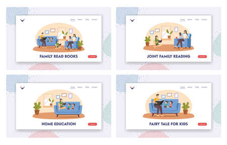 Happy Family Reading at Home Landing Page Template Set. Father, Mother and Children Characters Sit on Couch with Books Иллюстрация