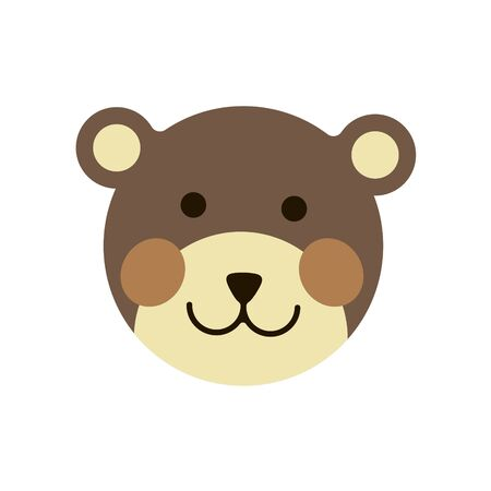 Cute teddy bear head on white background. Vector illustration in trendy flat style. EPS 10.