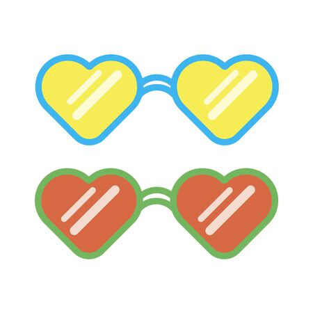 Glasses hearts on white background. Vector illustration EPS 10.