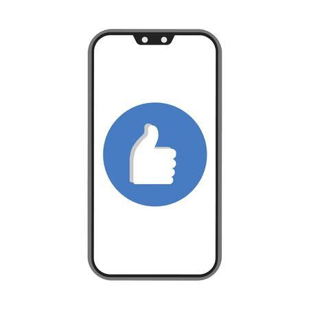 Phone and like on white background. Vector illustration in trendy flat style. ESP 10.