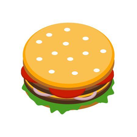 Burger on white background. Vector illustration.