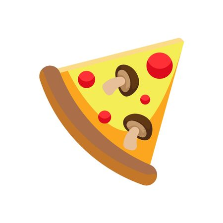 Fast food pizza slice on white background. Vector illustration in trendy flat style. ESP 10.