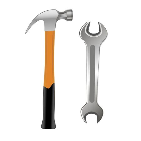 Construction tools on white background. Dill, wrench, saw, pliers, hammer, level for repair. Vector illustration in trendy flat style. ESP 10. Иллюстрация
