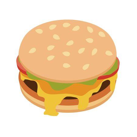 Burger, hotdog, sandwish. Fast food. Vector illustration.