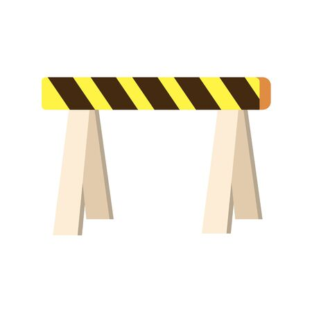 Road closed street barrier on white background. Vector illustration in trendy flat style. ESP 10. Stock Illustratie