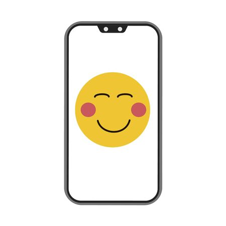 Phone and smile on white background. Vector illustration in trendy flat style. ESP 10. Illustration