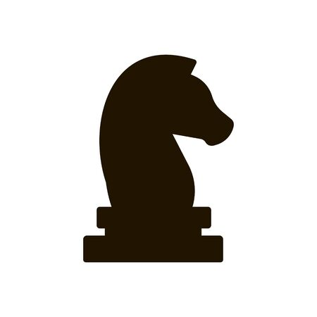 Chess piece horse icon on white background