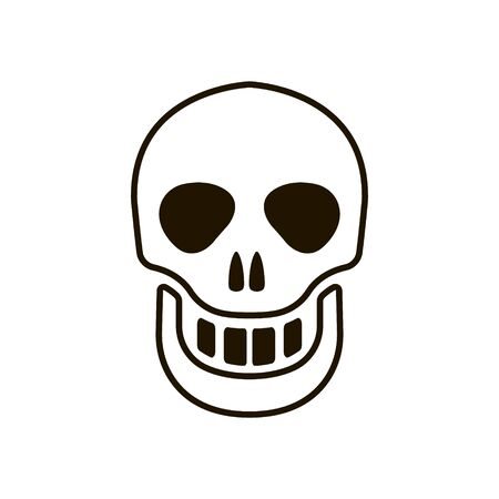 Human skull icon in trendy flat style isolated on white background Ilustração