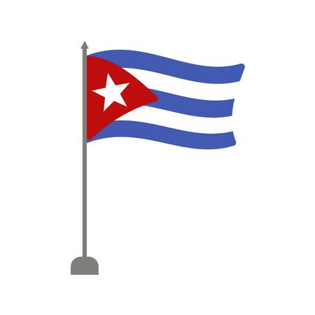 Cuba Flag on white background. Vector illustration in trendy flat style. EPS 10.  イラスト・ベクター素材