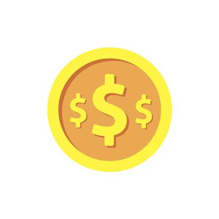 Gold coin on white background. Vector illustration in trendy flat style. EPS 10.