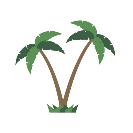 Palm trees icon on white background. Vector illustration in trendy flat style.