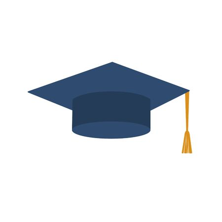 Graduation hat on white background. Vector illustration in trendy flat style.