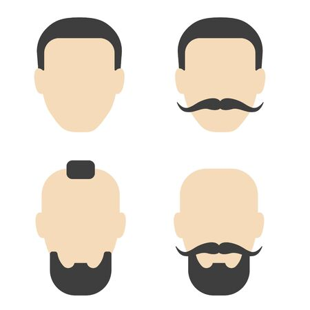 Set of mens hairstyle with beard mustache on white background. Vector illustration in trendy flat style. Illustration