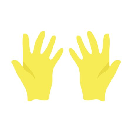 Yellow rubber gloves for cleaning. Vector illustration EPS 10 in trendy flat style isolated.
