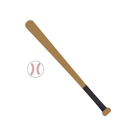 Baseball bat and ball on white background. American sport game championship. Vector illustration in trendy flat style. EPS 10.