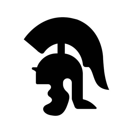 Spartan helmet icon on white background. The ancient Greek helmet, an element of armor for warriors, it protects such a weak spot as the head. EPS 10. Illustration