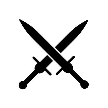 Schwert-Symbol auf weißem Hintergrund. Eine Art Nahkampfwaffe mit direkter Klinge, die zum Hacken und Durchbohren von Schlägen entwickelt wurde. EPS 10.