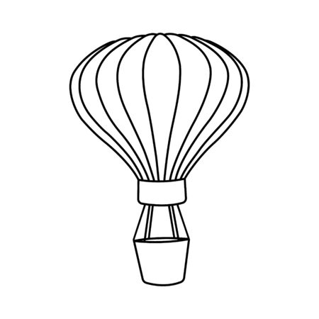 Flying air balloon icon on white background.. Hot balloon transport in the sky. An aircraft that uses gas that is lighter than air to fly. Vector illustration EPS 10.