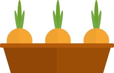 Onion in ground pot icon. Flat illustration of onion in ground pot vector icon for web design.