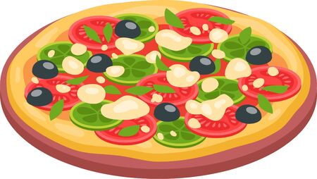 Fresh pizza with tomato, cheese, olive, onion, basil. Traditional italian fast food. Top view meal. European snack. Isolated white background. Vector illustration. EPS10.