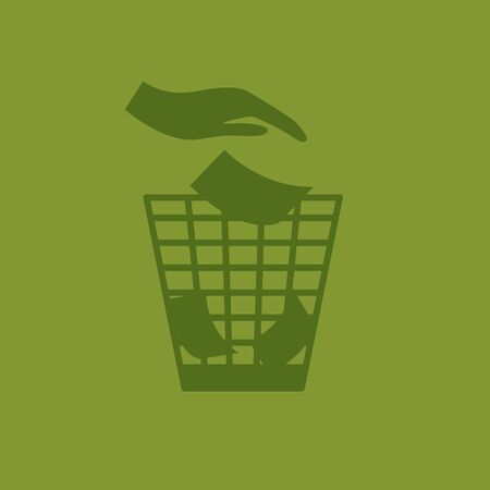 Garbage cans and bags in flat style icons. Vector icons of garbage bags, dumpsters and cans. With hand.