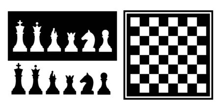 Chess board game on white background. Silhouettes of chess pieces. Trendy flat style for graphic design, web-site.