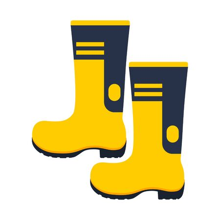 Rubber protection boots isolated on white. Yellow color. Vector illustration. Vectores