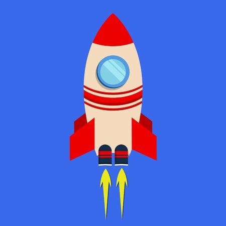 Rocket launch ship flat design on cyan background color. EPS 10