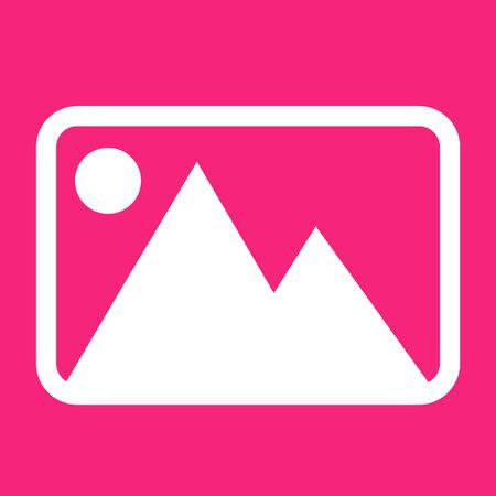 Picture image icon. For websites and apps. Image on pink background. Flat line vector illustration. Stock Illustratie