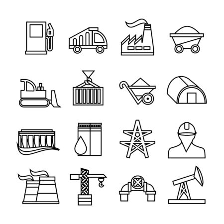 Energy industry icons set. Trendy flat style for graphic design, web-site. Stock Vector illustration. Ilustrace