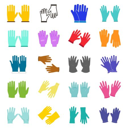 Set of construction gloves icon. Use for dish wash and disinfection.