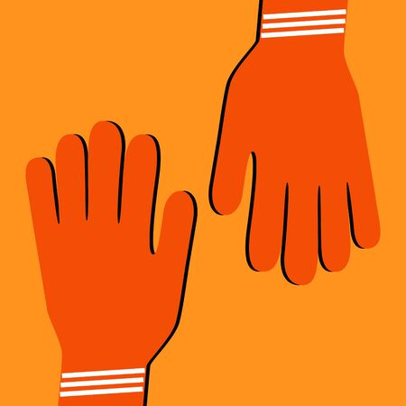 Construction gloves icon. Use for dish wash and disinfection.
