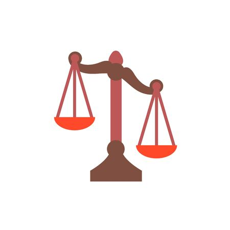 Scales Justice icon. Trendy flat style for graphic design, web-site. Stock Vector illustration