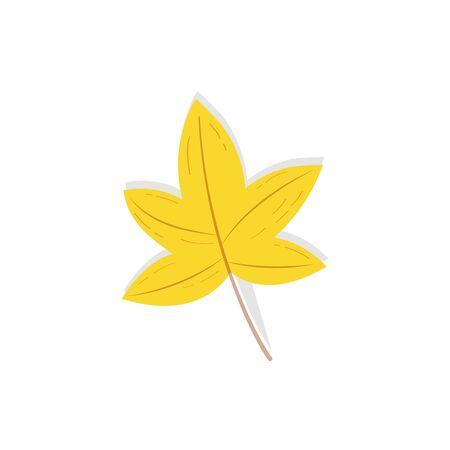 Yellow tree leaf isolated Illustration. Trendy flat style for graphic design, web-site Ilustração