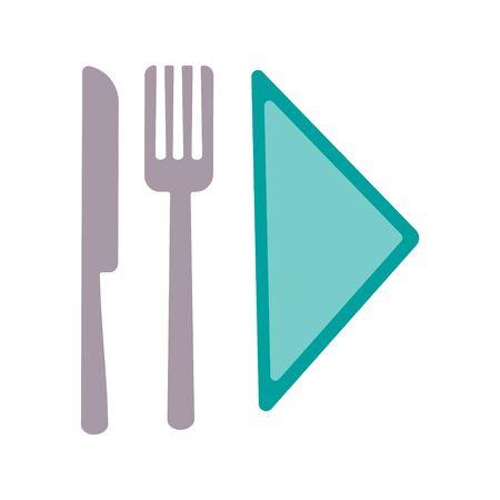 Fork and knife on white background. Cutlery Stock Vector illustration Ilustração