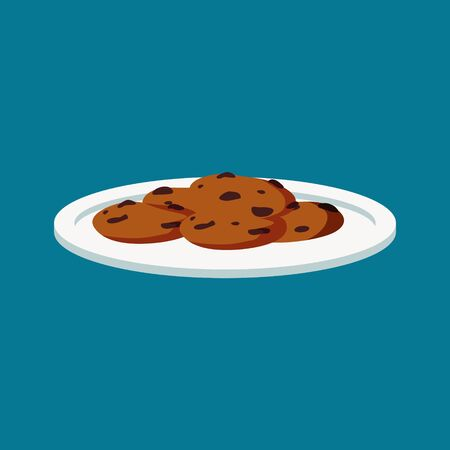 Traditional chocolate chip cookie isolated Illustration. Trendy flat style for graphic design, web-site