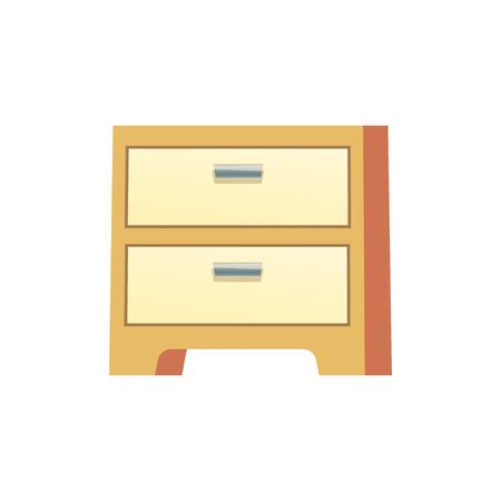 Wooden nightstand bedside on white background. Stock Illustration Ilustração