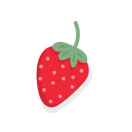 Garden strawberry fruit on white background. Stock Vector illustration
