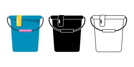 Plastic Buckets set for cleaning on white background. Stock Vector illustration