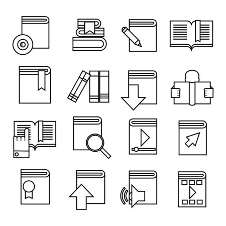 Book icons set. Trendy flat style for graphic design, web-site. Stock Vector illustration