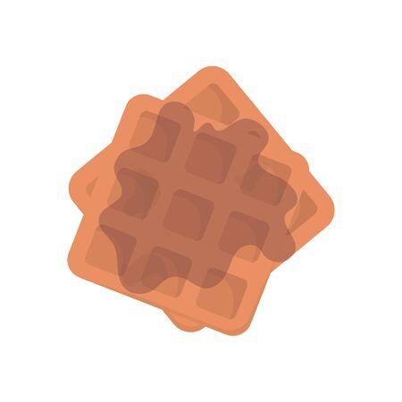 Belgian Waffle with honey on white background. Stock Vector illustration