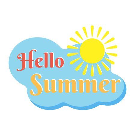 Hello Summer Lettering in trendy flat design  label. Stock Vector illustration