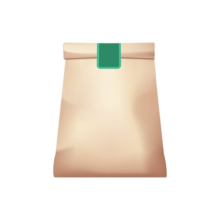Paper Bag Package for products or food on white background. Stock Illustration
