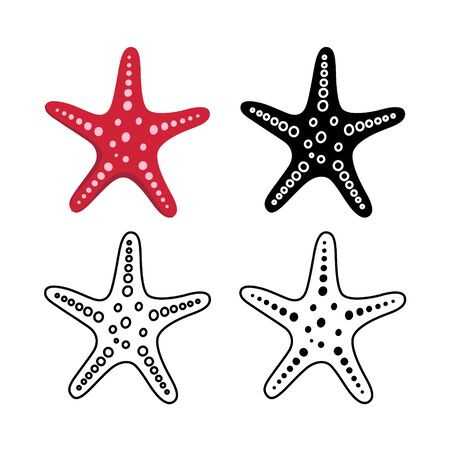 Set of starfish for summer design elements. Trendy flat style for graphic design, web-site. Stock Vector illustration